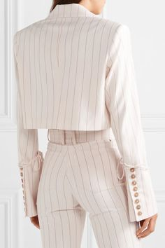 Orseund Iris - Box cropped pinstriped wool-blend blazer - Outfits for Work Mode Outfits, Fashion Outfits, Girl Outfits, High Fashion Dresses, Couture Outfits, Blazer Fashion, Looks Style, My Style, Semi Formal Wear