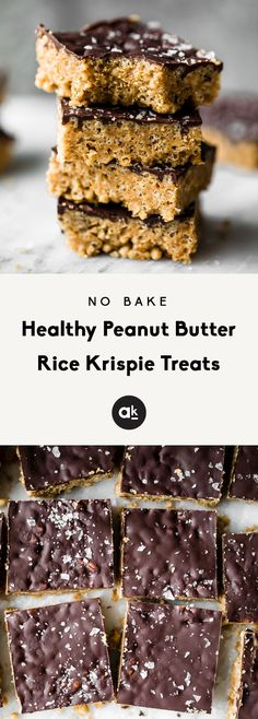 Healthy Rice Krispie Treats made with peanut butter, coconut oil, maple syrup and brown rice krispies. These #vegan and #glutenfree treats are topped with dark chocolate and sea salt for an indulgent treat that tastes just like a crunchy peanut butter cup. Options to add a bit of protein powder to make these a great post workout treat! #dessert #peanutbutter #nobake #healthyrecipes