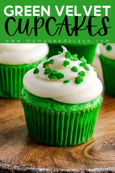 These Green Velvet Cupcakes are made from scratch and have a moist and fluffy texture. Topping these delicious cupcakes is a homemade cream cheese frosting. Perfect for birthdays or St. Patrick's Day!