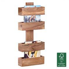 Amazing WOHNLING Solid Wood Acacia Wall Newspaper Holder Shelf 30 X 10 X 72 Cm Idea
