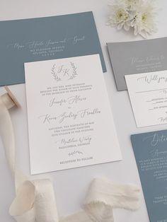 Monogram Invitations for a dusty blue wedding