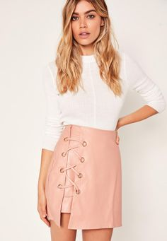 9f091b9406 Missguided - Pink Faux Leather Eyelet Detail Lace Up Skirt Lace Up Skirt,  Winter Skirt