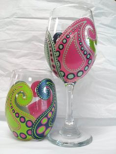 Funky, whimsical paisley in hot pink, navy blue, lime green, and pale turquoise.