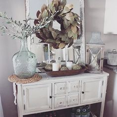 A room will look beautiful if the entrance has been beautifully decorated and one of the ideas is rustic farmhouse entryway decoration. Home decoration can be a fun activity because you will be thr… Country Decor, Rustic Decor, Farmhouse Decor, Farmhouse Style, Farmhouse Buffet, Dining Buffet, Rustic Buffet, Buffet Table Ideas Decor Dining Rooms, Farmhouse Ideas