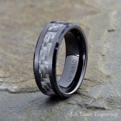 Ceramic Black Faceted 8mm Mens Wedding Ring Sz 10.5