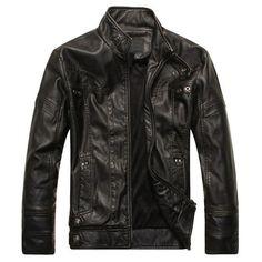 """Linyuan Men""""s Cool Stand Collar PU Leather Jacket Plus Velvet Moto Coats Rider J… - Top-Trends Mens Leather Coats, Men's Leather Jacket, Faux Leather Jackets, Pu Leather, Real Leather, Pu Jacket, Riders Jacket, Jacket Men, Biker Look"""