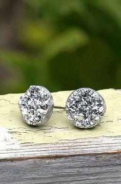Faux Silver Druzy Stud Earrings, Metallic Silver Glitter Posts