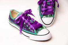 d6ea714f4f1a Sequin - Two Tone - Sports Fan Custom Purple Over Mint Green Low Top  Sneakers Tennis