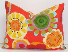 RED OUTDOOR PILLOW.12x16 or 12x18 inch.Decorative Pillow Covers.Home Decor.Outdoor Decor.Indoor. Outdoor.Cushion.Floral.Flowers.Orange.Coral