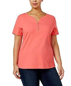 3acaedad1ec6c Karen Scott Womens Cotton Henley Short Sleeve T-Shirt Peony Coral Plus Size  3X