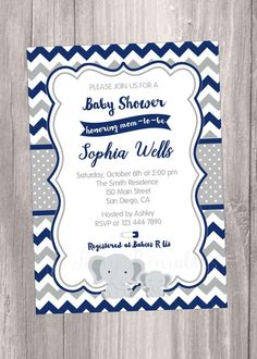 Elephants Baby Shower Invitation Navy blue and grey,  Navy Blue and grey chevron Invitation, Peanut baby shower Invitation. Printable