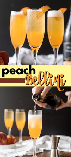 A Bellini, commonly called a peach bellini, is a combination of white peach puree (or nectar) and Prosecco. Served in a champagne flute and garnished with a fresh peach wedge, it's a wonderful summer cocktail and perfect for brunch. Bellini Cocktail, Prosecco Cocktails, Peach Bellini, Summer Cocktails, Sunset Cocktail Recipe, Best Cocktail Recipes, Peach Drinks, Brunch Drinks, Cinco De Mayo