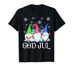 Scandinavian Gnomes God Jul Tomte Swedish Christmas Nordic T-Shirt Nordic Emporium Norwegian Christmas, Scandinavian Gnomes, Branded T Shirts, Fashion Brands, Mens Tops