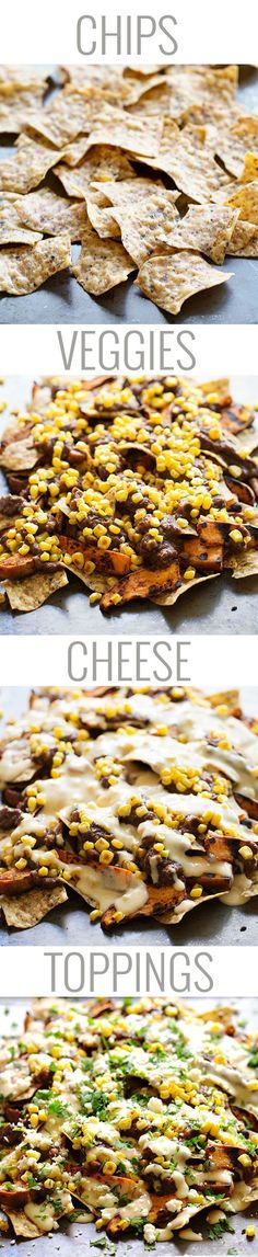Healthy Grilled Sweet Potato Nachos - multigrain chips, grilled sweet potatoes, black beans, roasted corn, and a lightened up homemade chees...