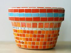 Phoenix Sun  Mosaic garden planter in orange
