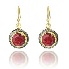 18K GoldPlated and Black Rhodium Rims Circle Red Simulated Ruby Gemstone Dangle Earrings *** You can get more details by clicking on the image.