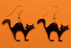 Laser Cut Halloween Black Cat Earrings by OttavaDesigns on Etsy, $9.00