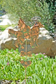 Golden Retriever Dog Angel Garden Stake / Pet Memorial / Metal Yard Art / Garden Copper Art / Pet Grave Marker / Metal Pet Sculpture