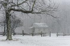 Brush Mountain schoolhouse, winter, Cumberland Gap National Park Stock Images