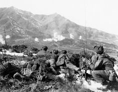 Personnel of Companies A and K Infantry Regiment keep a sharp lookout for movement in the Communist-held area as U. forces bombard the vicinity with white phosphorous shells. Korea February 1 x Korean Peninsula, Korean People, History Projects, All Family, Family Trees, American Civil War, American Soldiers, American History