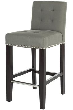 Elegant Gray Leather Counter Stools