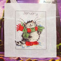 Design by Suzi: ✯ ▪ ✯ Január (Projekt ✯ ▪ ✯ Margaret Sherry, Cat Cross Stitches, Stitch 2, January, Calendar, Cats, Design, Hand Embroidery, Projects
