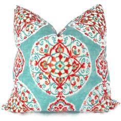 Turquoise and Orange Suzani Decorative Pillow Cover 20x20, Toss Pillow, Throw Pillow. $45.00, via Etsy.