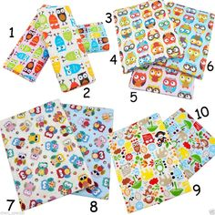 "10 Styles LOT Kawaii Owl Prints 100% Cotton FQ Fabric Bundle Twill Quilt 19.7"" #Unbranded"