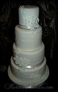 crystal Winter Wedding Cake by Karen's kakes, via Flickr