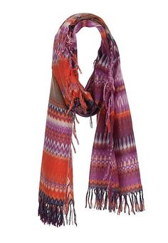 Tie dye stripe scarf with tassels (original price, $14) available at #Maurices