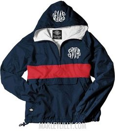 Monogrammed Navy and Red Pullover Rain Jacket, Sooooo perfect for a rainy day in Oxford