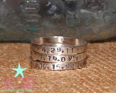Personalized hand stamped stackable stacking by SaltyKissesCompany, $21.00