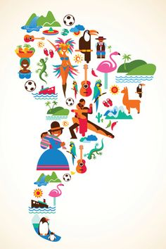 South America love - concept illustration with vector icons by Marish, via ShutterStock South America Map, Latin America, Love Posters, Travel Posters, Art Carte, World Geography, Geography Lessons, Thinking Day, Illustration