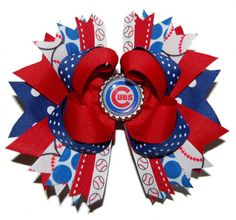 Chicago Cubs Baseball Bow ABSD by bowsalamode on Etsy, $10.99