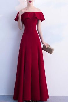 ... Cute Formal Dress 2019. Wine Red Off Shoulder Floor Length Party  35db82a0cb0e
