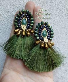 Thread Jewellery, Tassel Jewelry, Beaded Jewelry, Jewelery, Unique Earrings, Bead Earrings, Beautiful Earrings, Jewelry For Her, Jewelry Making