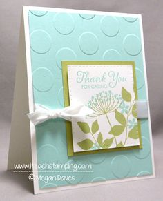 Stampin' Up! ... handmade thank you card ... big dot embossing folder texture on backgrounds ... small focal point block layered, border pierced and popped up ... Summer Silhouettes stamps ... white ribbon wrap with a bow to the side ... delightful card!
