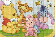 Schema punto croce baby pooh and friends disney cross-stich Disney Cross Stitch Patterns, Cross Stitch For Kids, Cross Stitch Baby, Cross Stitch Kits, Cross Stitch Charts, Cross Stitch Designs, Winnie Pooh Baby, Cross Stitching, Cross Stitch Embroidery