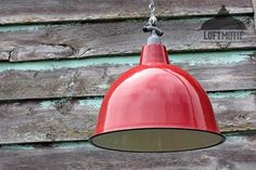 Industrial cloche lightshade red.