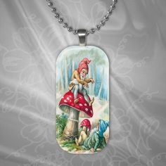 Glass Pendant -Forest Gnomes - Vintage Style Rectangle. Sale Buy 3 get 1 Free!!