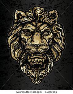 stock vector : Gold Lion Door Knocker