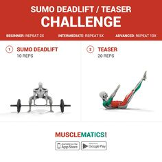 #workoutwednesday is here! #challenge yourself with this #workout and #compete with a #trainingpartner! #MuscleMatics #followthemovement #sumodeadlift #teaser #pilates #abs
