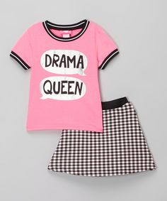 This Girls Luv Pink Pink & Black 'Drama Queen' Tee & Skirt - Infant & Girls by Girls Luv Pink is perfect! #zulilyfinds