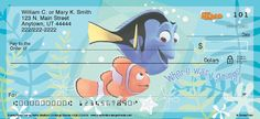 """Four dynamic designs capture the delight of the deep blue sea with either a portrait of Nemo with his name written in bubbles, a portrait of Nemo and Dory with """"Where was I going?"""", Bruce, Chum and Anchor with """"Fish are Friends Not Food"""", or Crush and friends giving Nemo and Dory a lift on the East Australian Current. Plus, vivid underwater backgrounds and the movie title design add extra flair to these Disney/Pixar personal checks."""