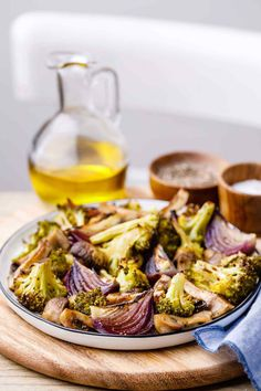 Addictive Roasted Broccoli and Mushrooms with Onion Wedges - Paleo Grubs