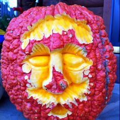 Carved warty pumpkin