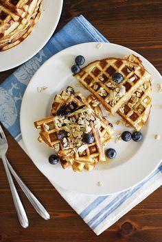 Gluten-Free Blueberry Muesli Waffles | girlversusdough.com @girlversusdough