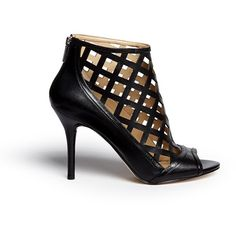 Michael Kors 'Yvonne' cutout leather open toe caged booties (€230) ❤ liked on Polyvore featuring shoes, boots, ankle booties, black, summer booties, open toe booties, black cut-out booties, black leather boots and cut out ankle booties