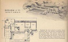 Retro House Plans | Vintage House Plans, 1950s Home, Mid Century Houses