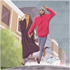 my instagram address: @amin.daryanavard  #Amin_Daryanavard #islamic_lifestyle #lifestyle #art #hijab #rain #run Cute Muslim Couples, Muslim Girls, Muslim Women, Cute Couples, Couple Cartoon, Girl Cartoon, Couple Musulman, Muslim Pictures, Hijab Drawing